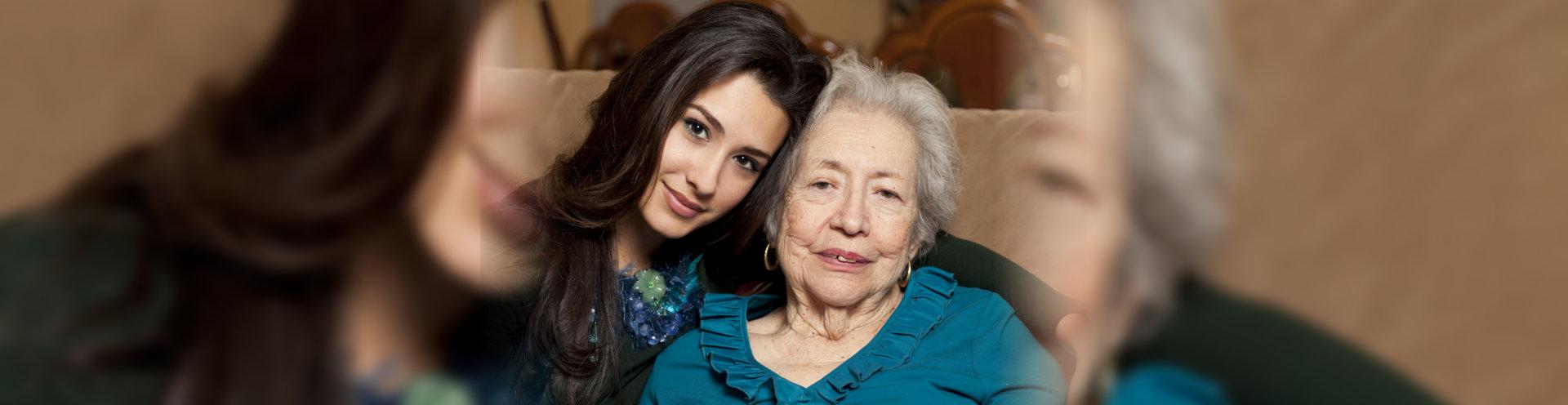 elderly patient and her granddaughter
