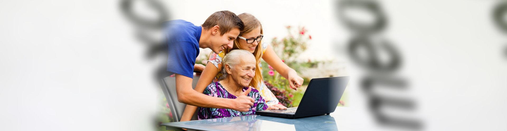 caregiver assisting elderly patient
