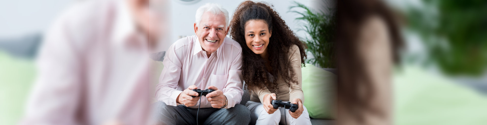 caregiver and patient playing